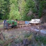Locomotive line-up outside the mine