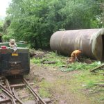 Removing the rusted tank support