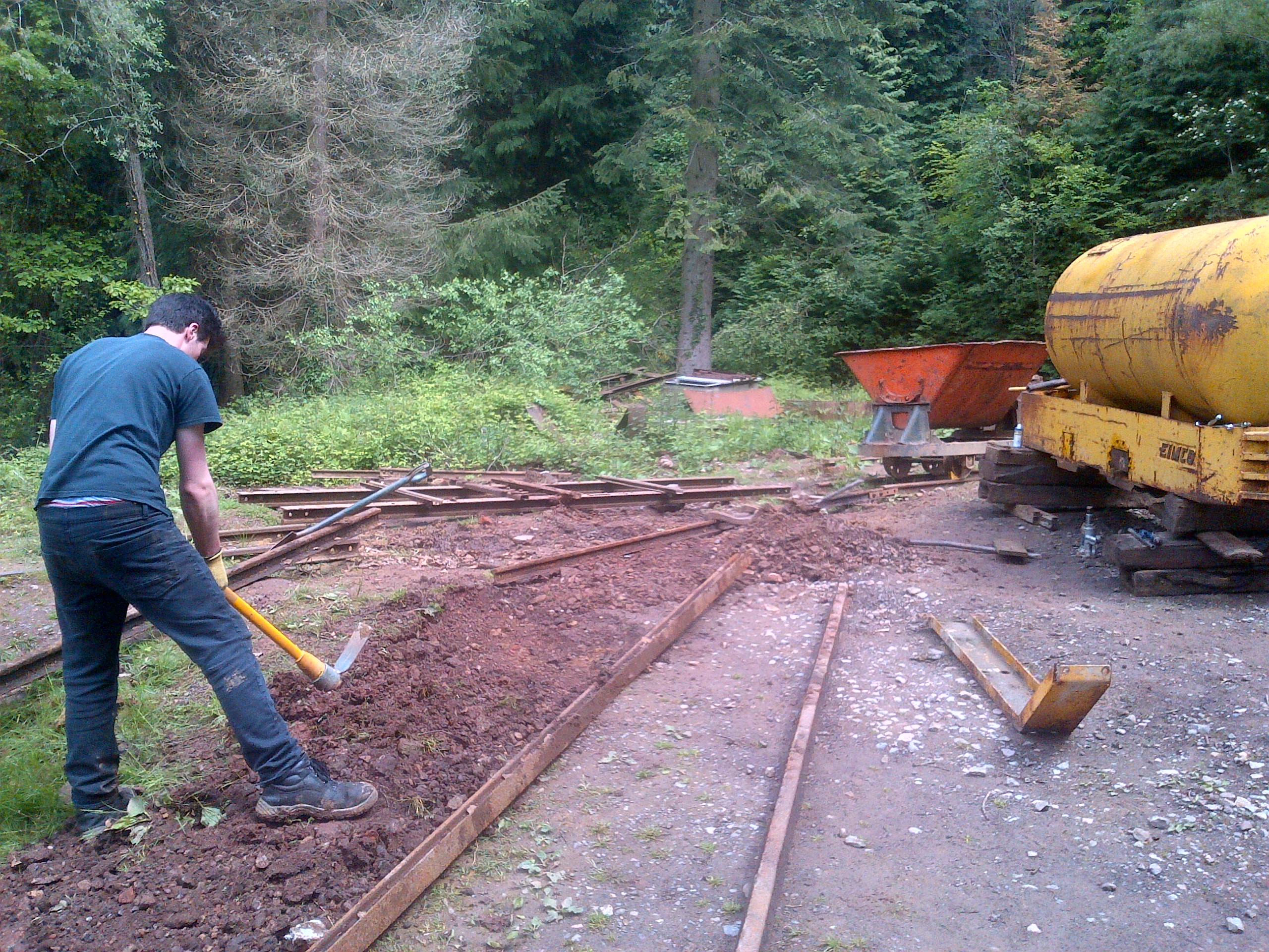 Temporary track under construction