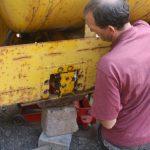 Rear axle jacked up
