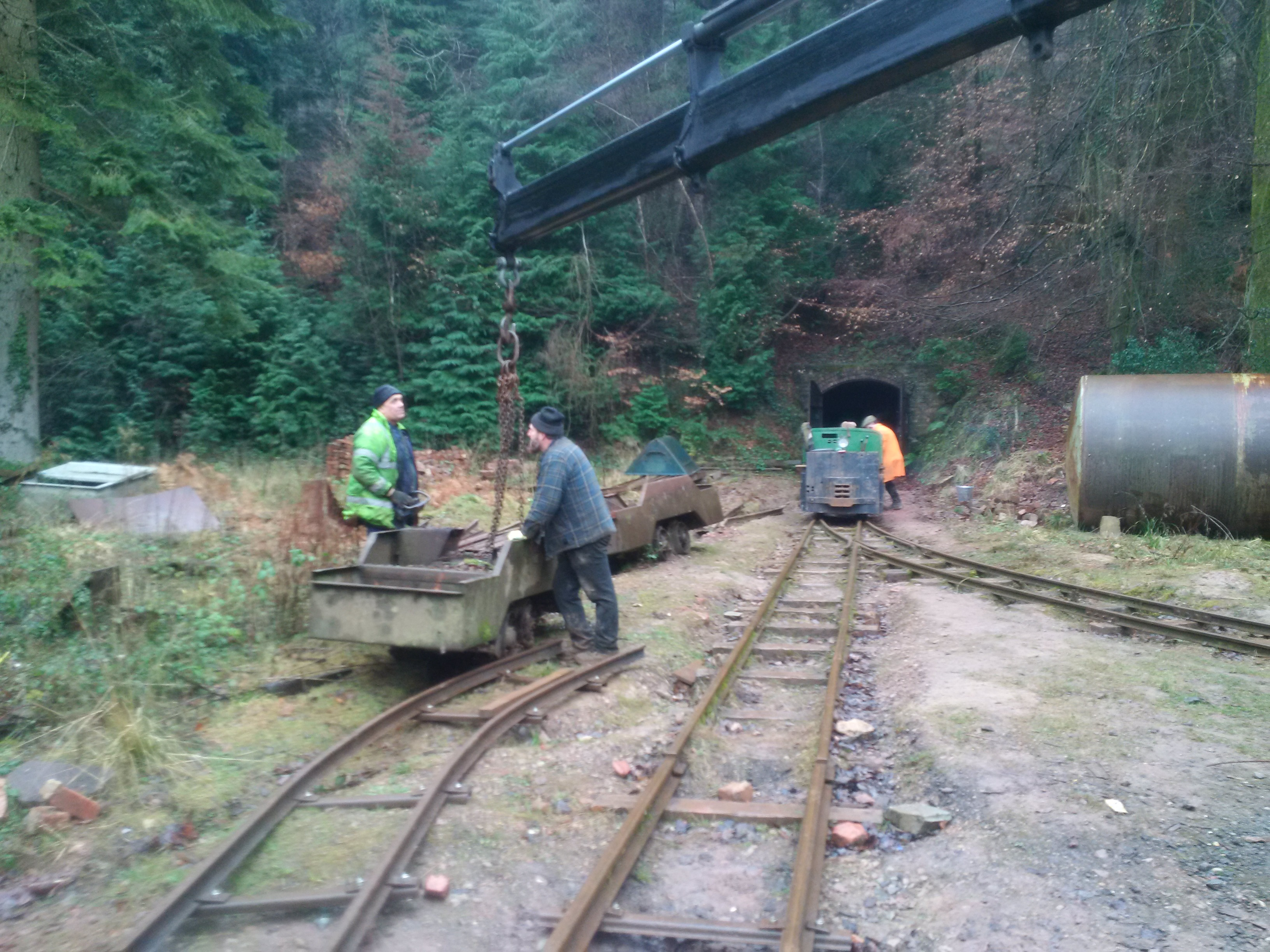 4-wheel bogie is lifted into position
